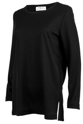 vintage black long sleeve top with split side hem