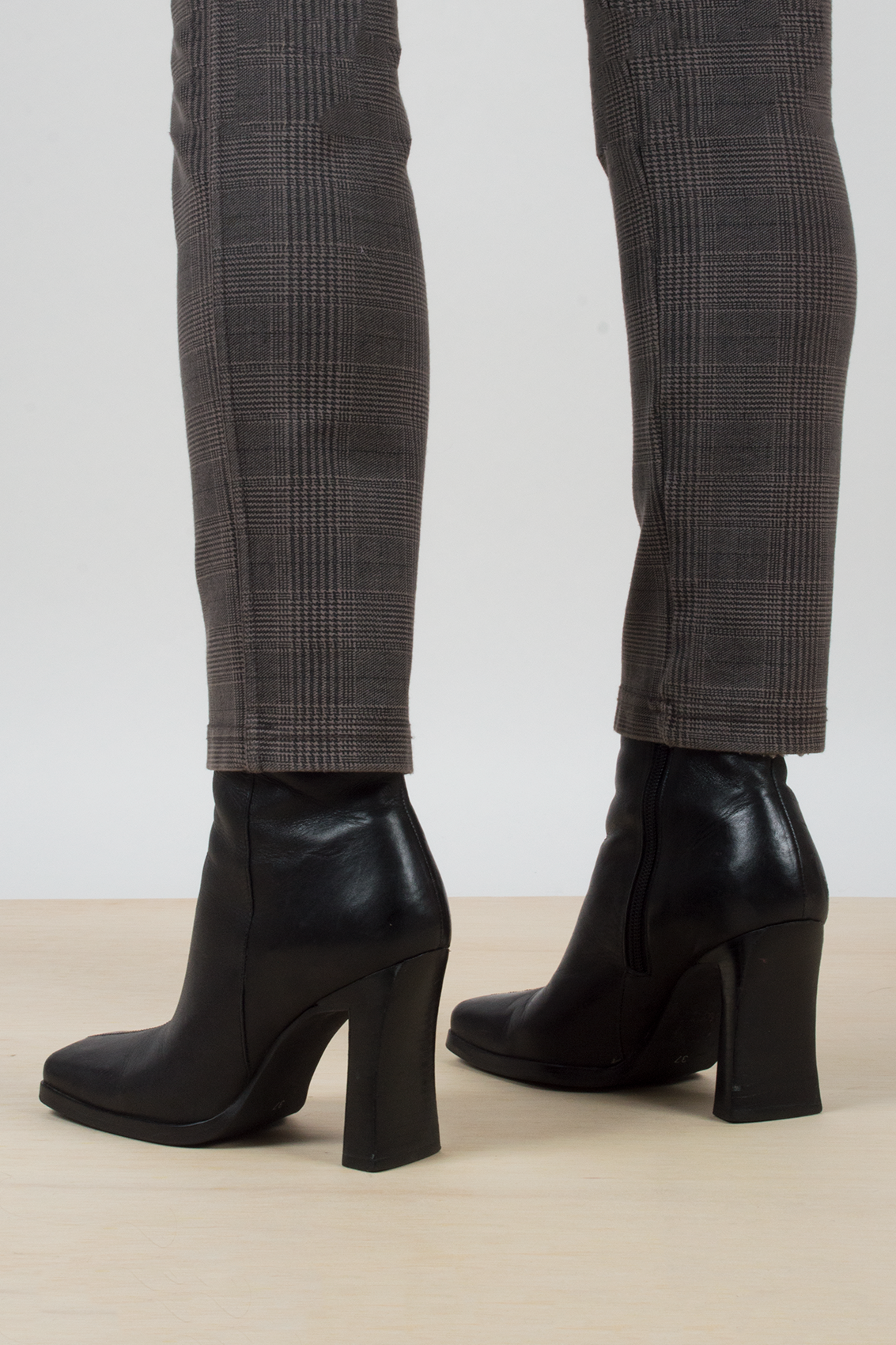 black vintage square toed booties