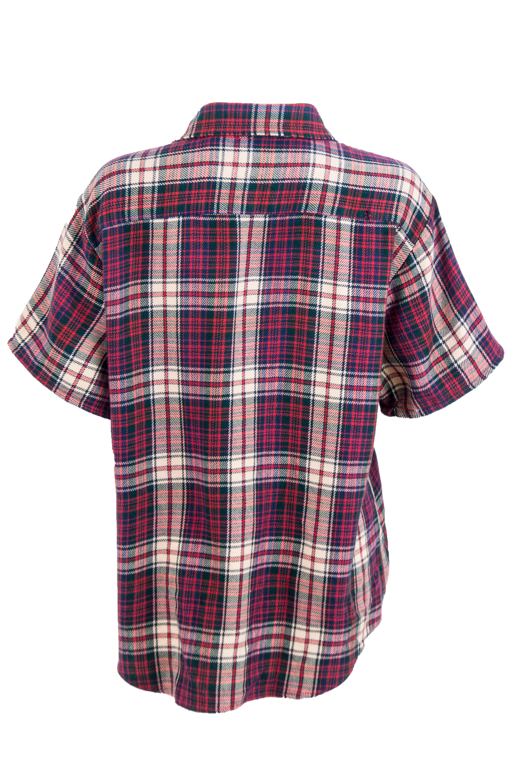red flannel shirt with short sleeves