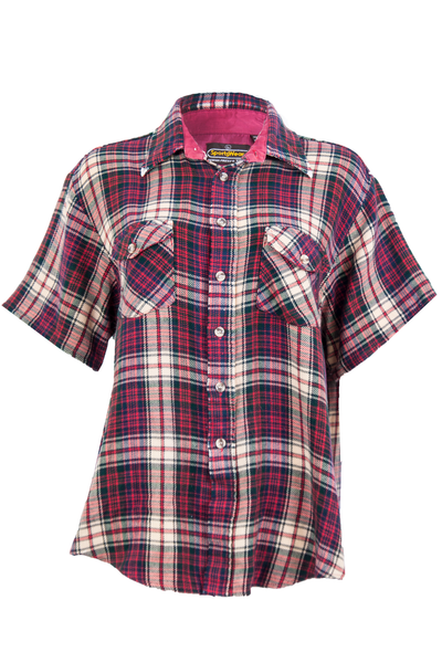 Vintage red flannel shirt with short sleeves
