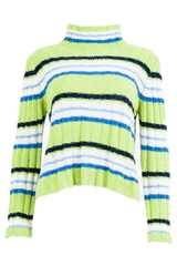 striped sweater with mock neck in green velour