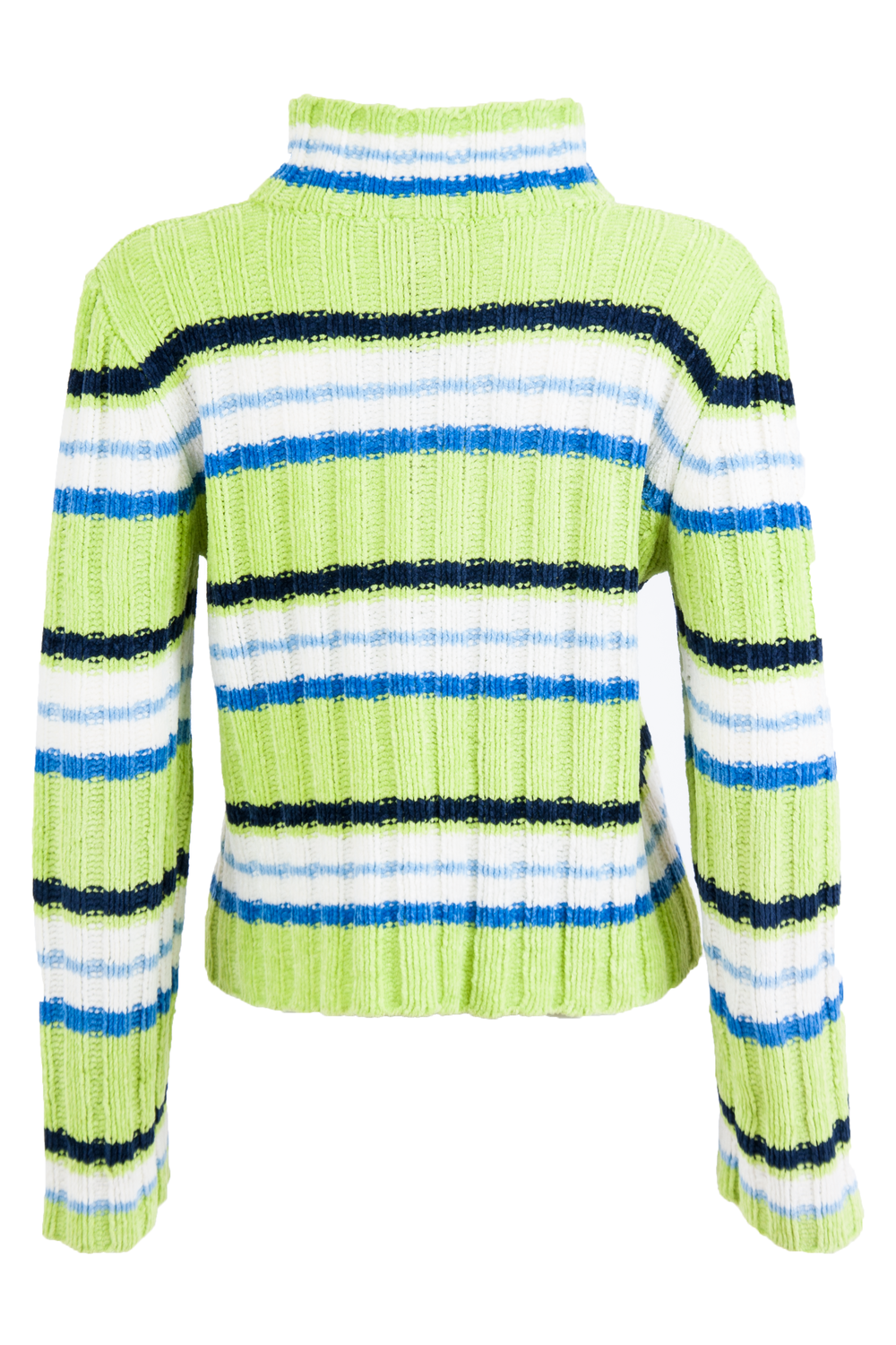 vintage striped sweater in green and white velour