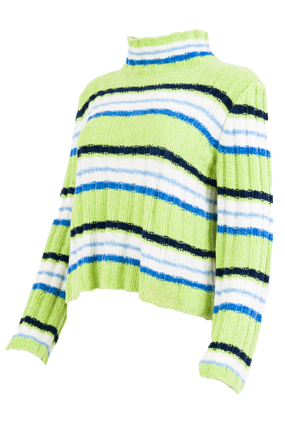 green and white striped sweater with mock neck