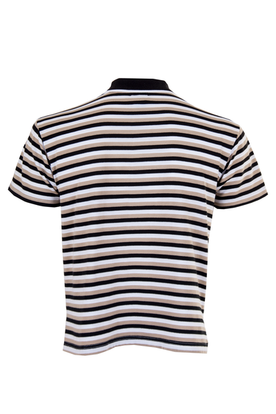 striped polo in black/brown/white