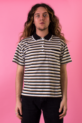 vintage black, brown, and white striped polo shirt