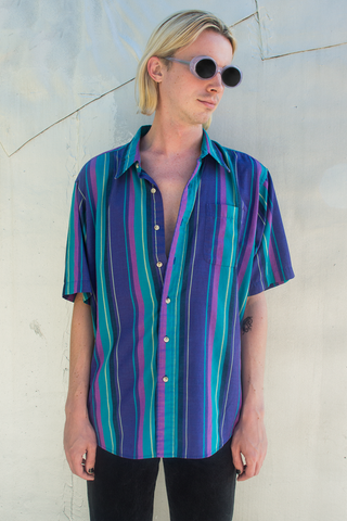 vintage striped short sleeve shirt in blue
