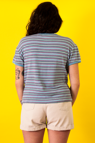 Vintage blue and multicolor striped t-shirt