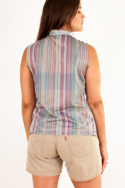 sleeveless multicolor striped shirt