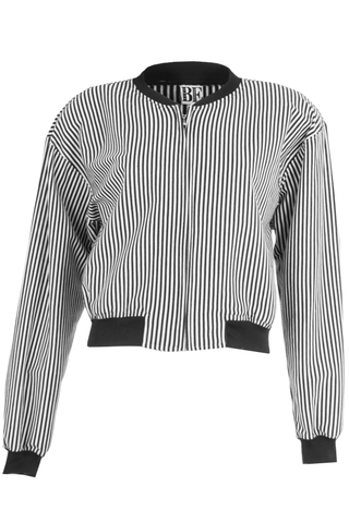 black and white striped bomber sweatshirt
