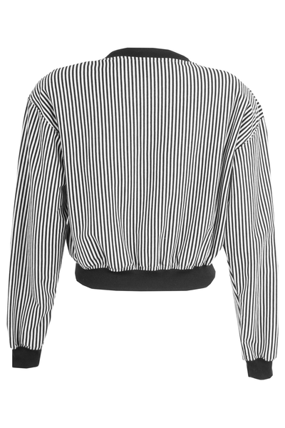 vintage bomber jacket in black and white stripes