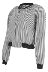 striped bomber sweatshirt in black and white
