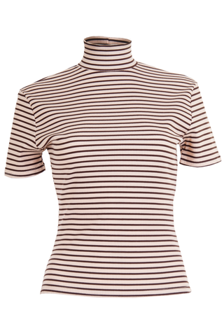 Striped mock neck t-shirt in brown and tan