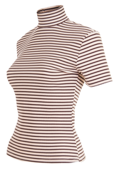 vintage mock neck t-shirt in brown and tan stripes