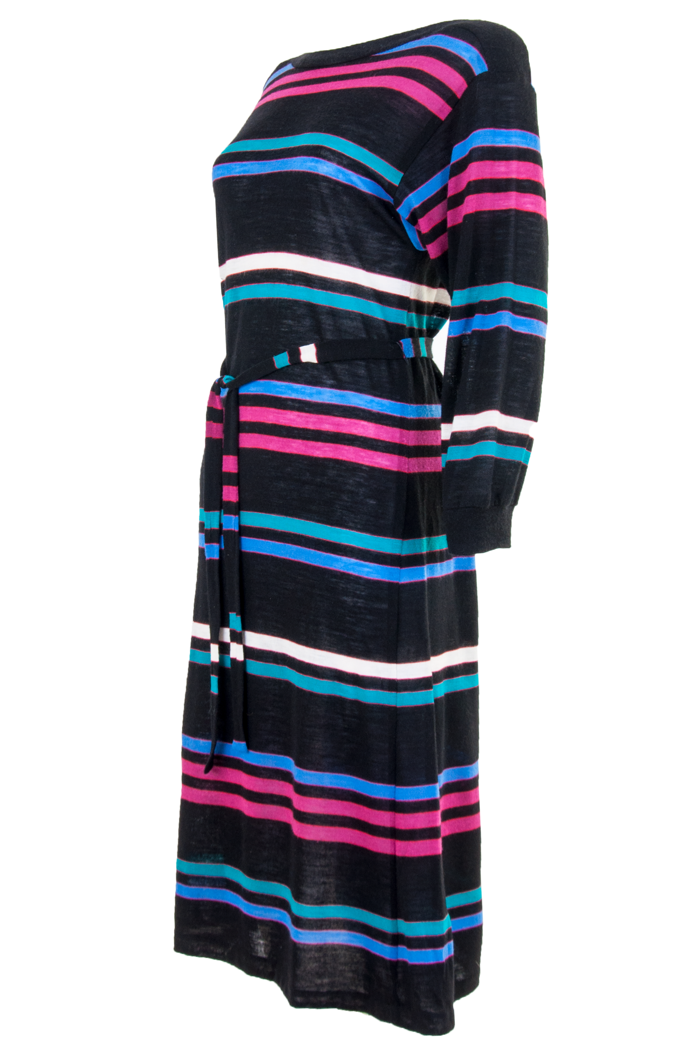 black and multicolor sweater dress with belt tie