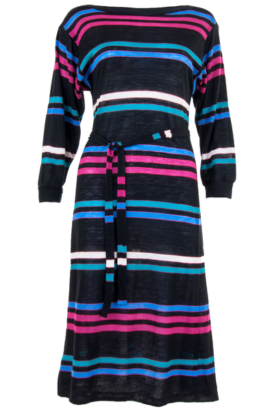 striped sweater dress with belt tie in black and multicolor