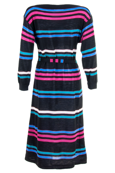 vintage sweater dress with multicolor stripes and belt