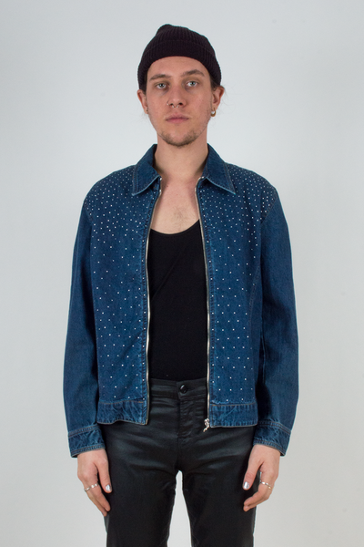 vintage denim shirt jacket with silver stud embellishments