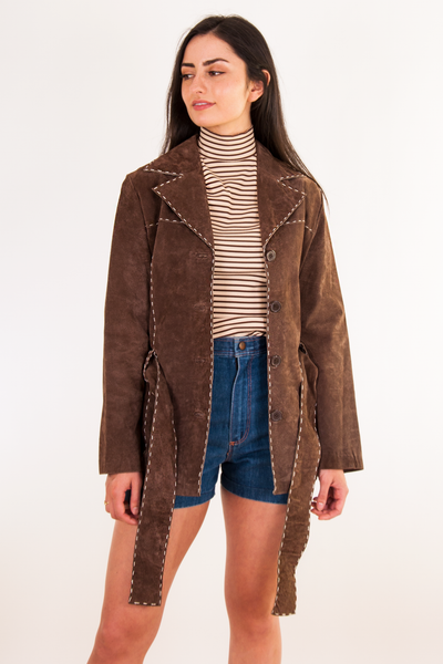 vintage suede jacket in brown with belt