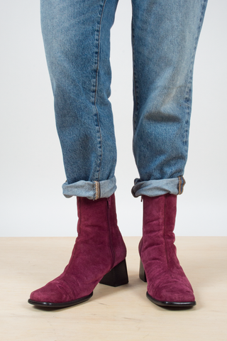 vintage suede ankle boots in Burgundy