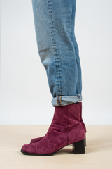 vintage suede booties in magenta