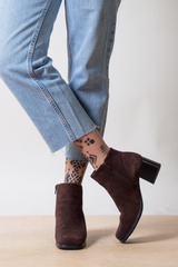 vintage brown suede booties with Levi's