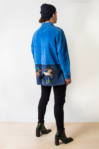 Suede Embroidered Western Jacket