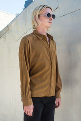 brown suede look shirt
