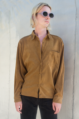 vintage vegan suede shirt in brown