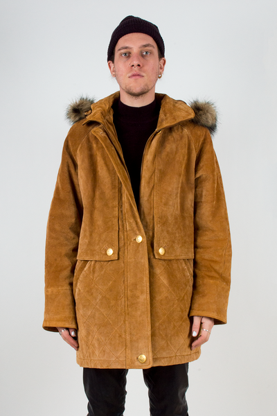 vintage cognac suede coat with fur trimmed hood
