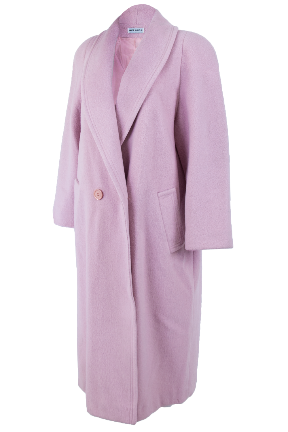 Pink wool coat with rounded lapel collar