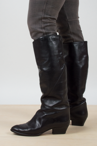 vintage black leather knee high boots with cuban heel