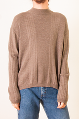 vintage beige wool sweater with mock neck and ribbing