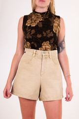 vintage beige denim shorts
