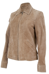 tan suede jacket with zipper front and pointed collar