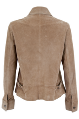 Vintage suede jacket in tan with buckles