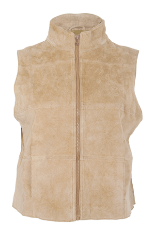 vintage suede vest in tan with mock neck and zip closure.