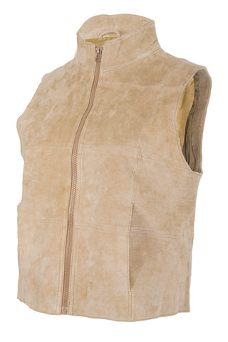 vintage tan suede vest with zip closure and mock neck