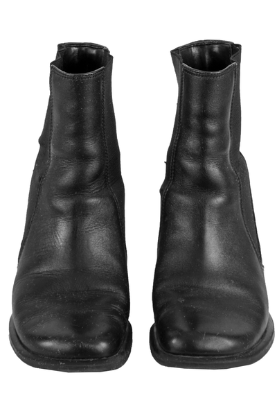 square toe black leather boots