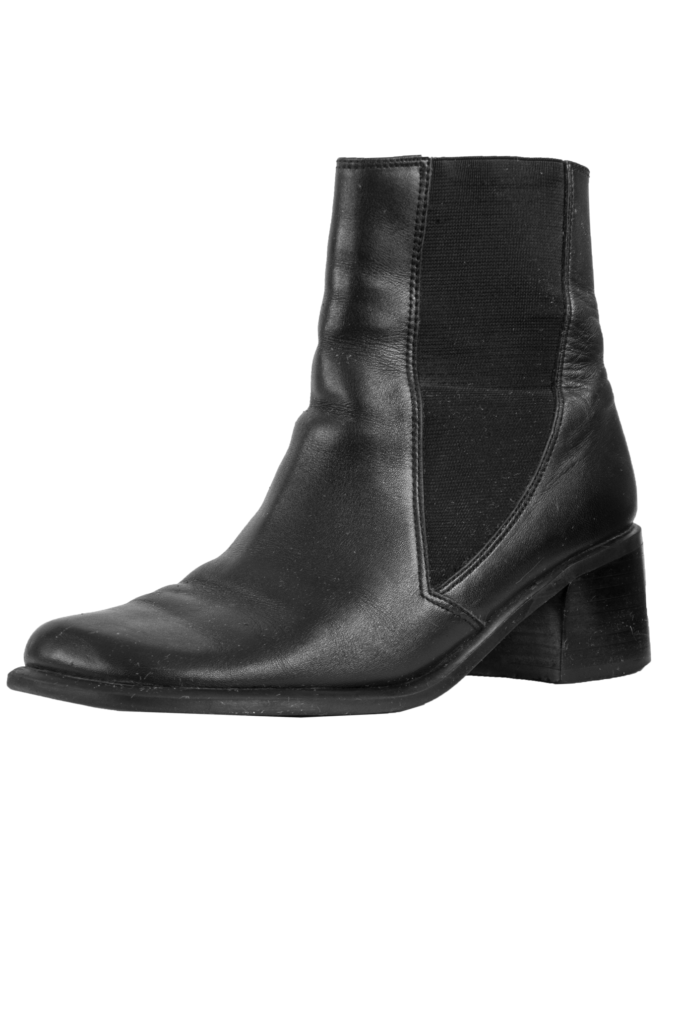 black leather ankle boots with stacked heel and square toe