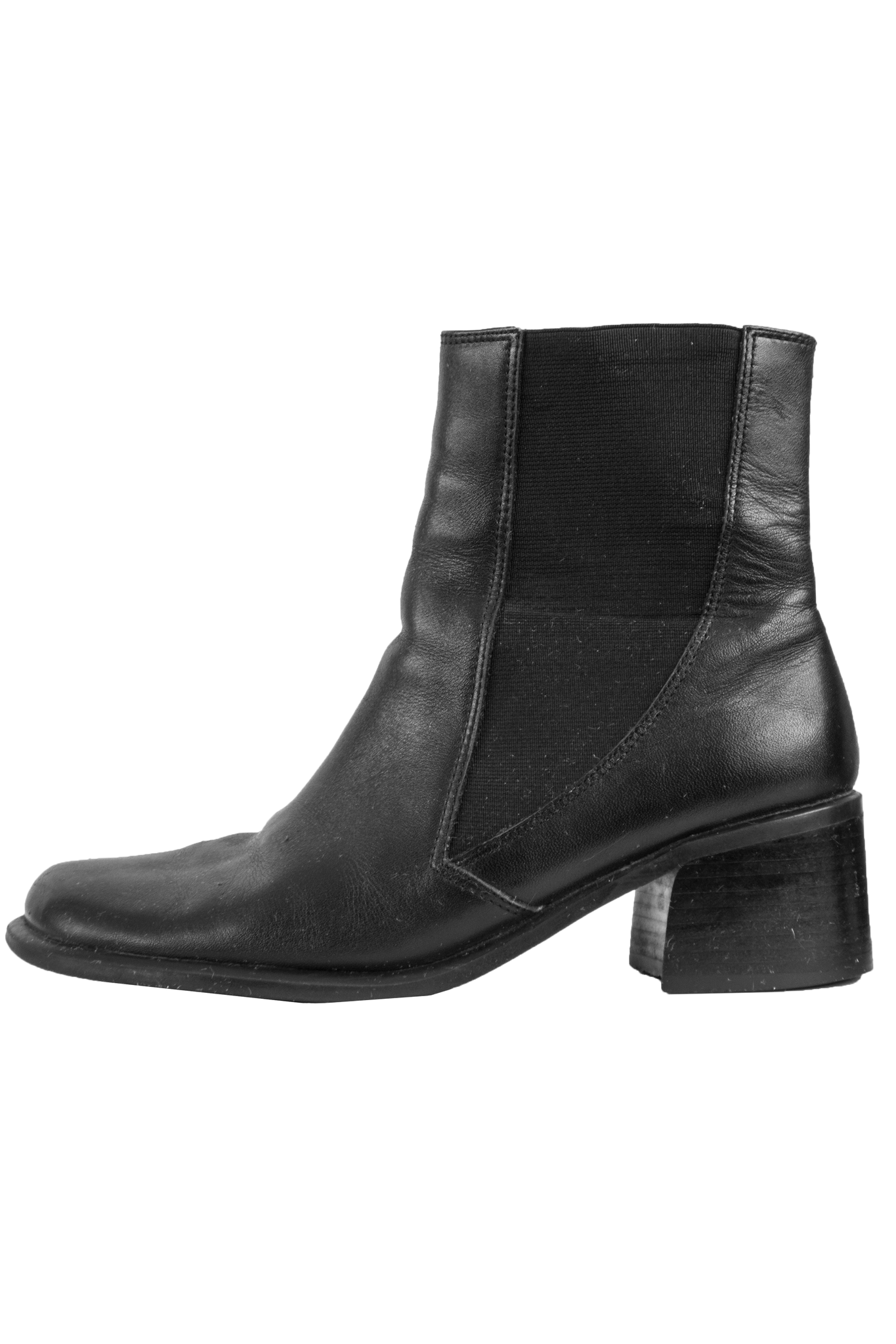 vintage leather ankle boots in black with heel stacked