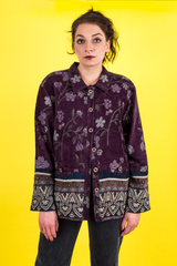 vintage purple textured coat with woven floral print
