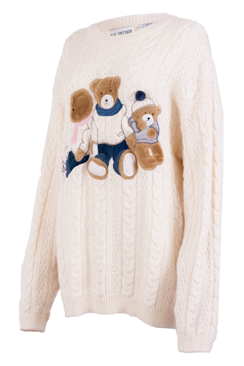 Vintage sweater with teddy bear embroidery
