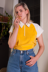 vintage terrycloth polo in yellow and white