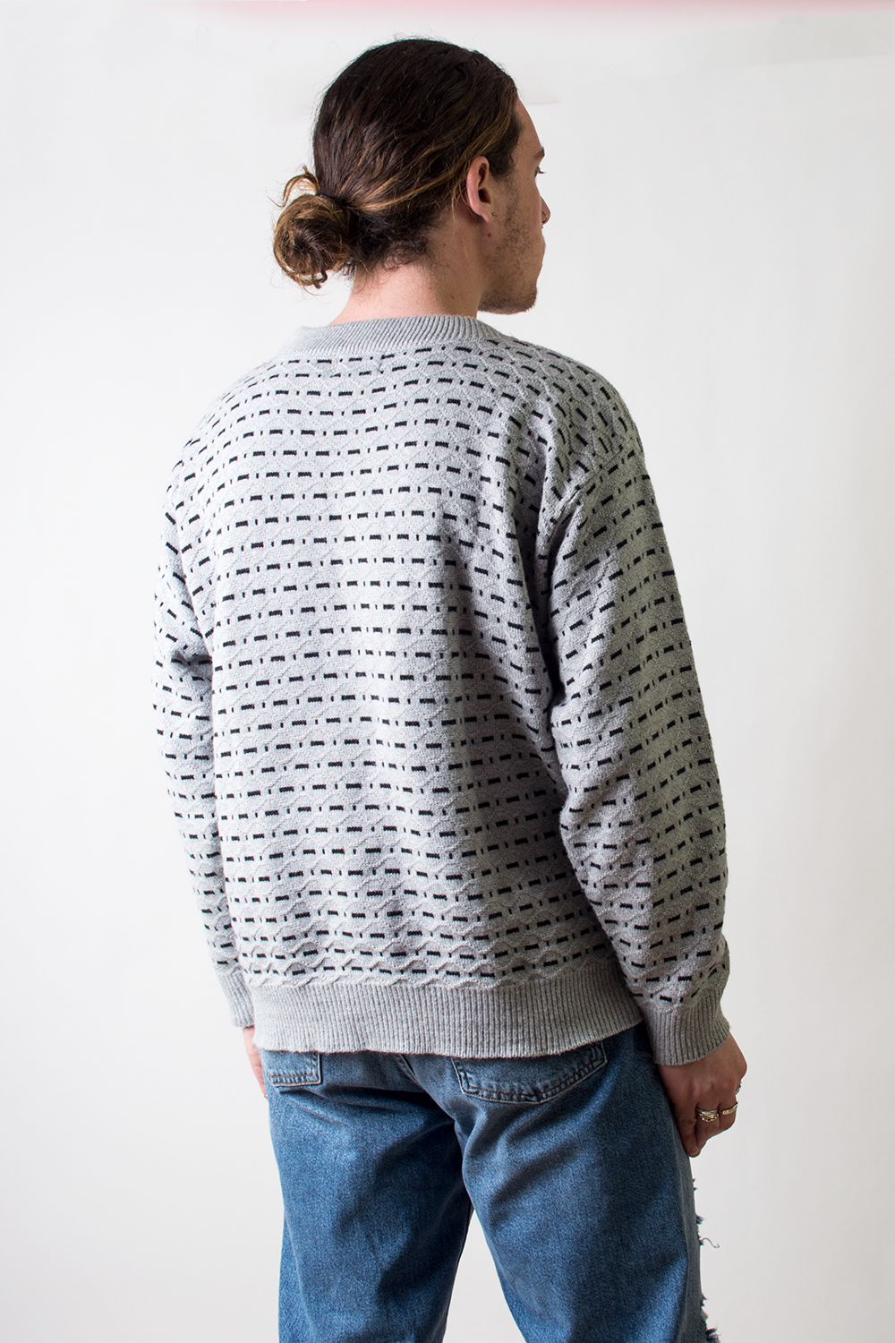 vintage grey textured sweater
