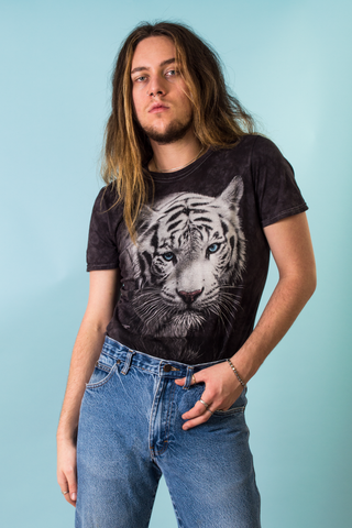 vintage white tiger t-shirt in black tye-dye