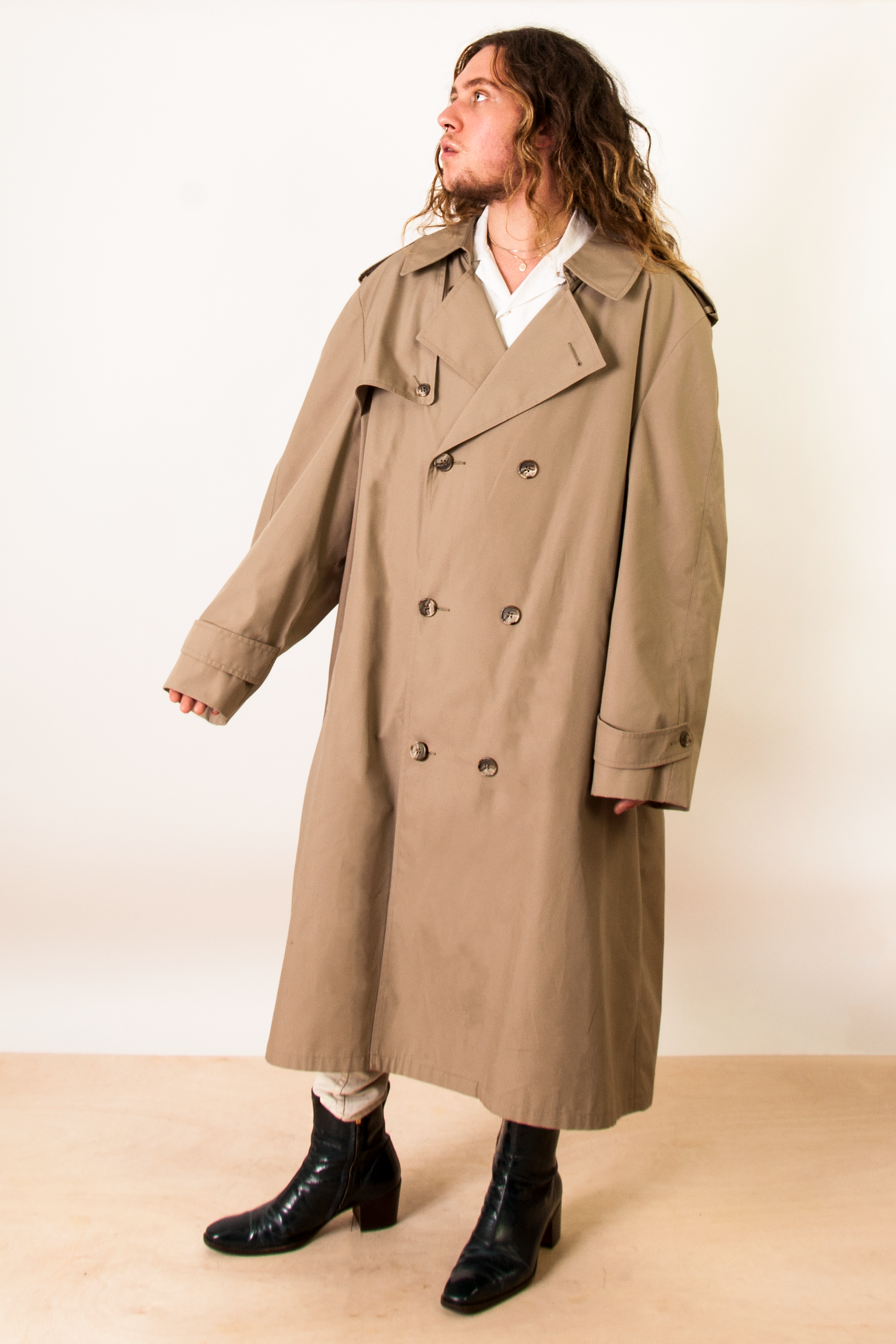 vintage beige oversized trench coat