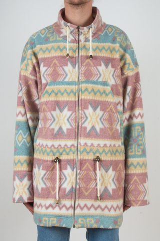 vintage pastel fair-isle print fleece jacket