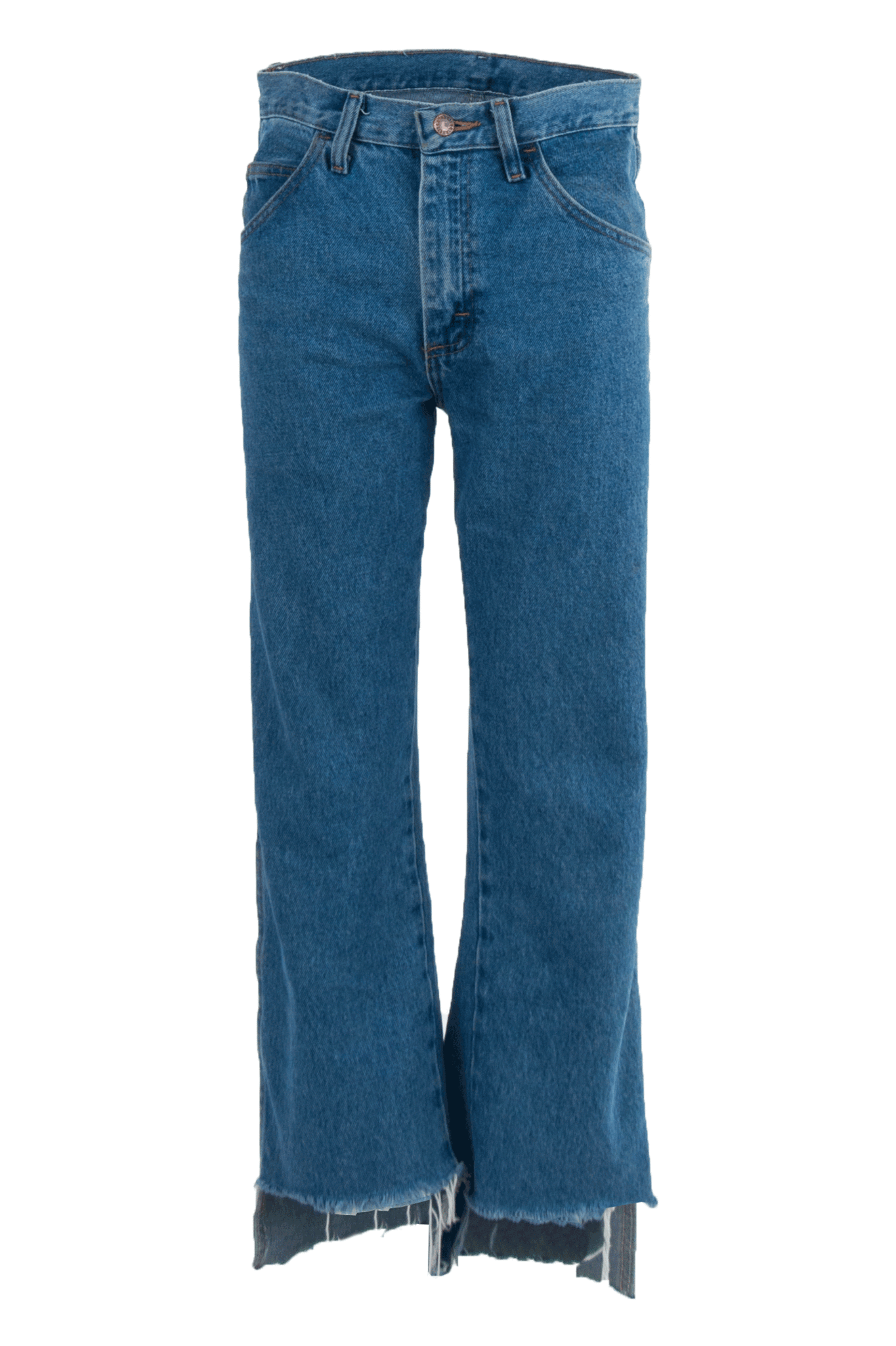 vintage jeans with uneven raw hem