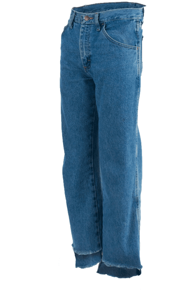 blue jeans with raw uneven hem
