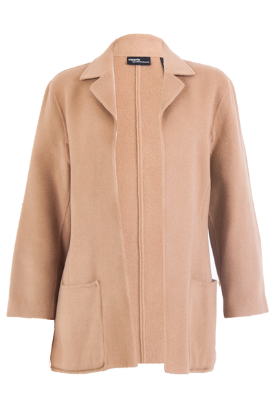 camel coat with unfinished hem